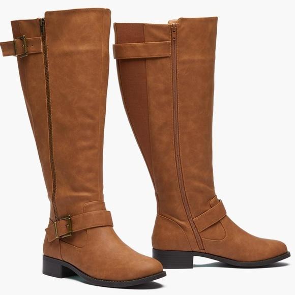 Sociology Women S Wide Calf Buckle Boots 9.5Cognac f1fe9881b